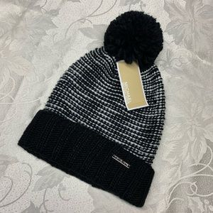 RARE Michael KORS Black White Knit Pom Beanie NWT